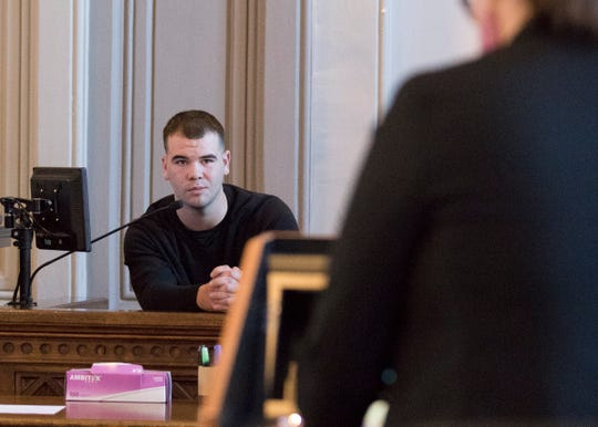 Gabriel Nichols answers questions as he is being cross-examined by Ross County Assistant Prosecutor Carrie Charles after taking the stand on his own behalf on Dec. 11, 2019. Nichols was acquitted by a jury concerning charges related to two counts of unlawful sexual contact with a minor, a fourth-degree felony.