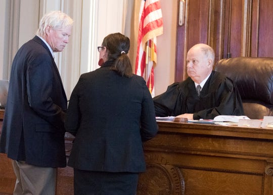 (L-R) Gabriel Nichols' attorney Jim Boulger, Ross County Assistant Prosecutor Carrie L. Charles, and visiting judge Christopher Martin confer briefly during Gabriel Nichols' trial Wednesday afternoon in Chillicothe, Ohio.