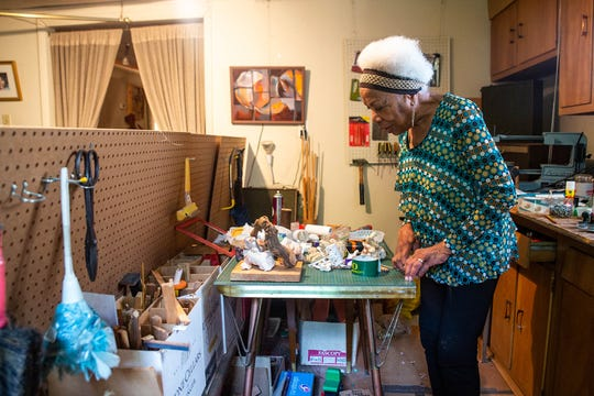 """Elizabeth """"Betty"""" Asche Douglas is an art-culture historian, retired professor, artist and jazz performer. Here she is pictured in her studio in Rochester, Pa."""