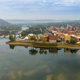 Marietta, Ohio, at the mouth of the Muskingum River as it enters the Ohio River.