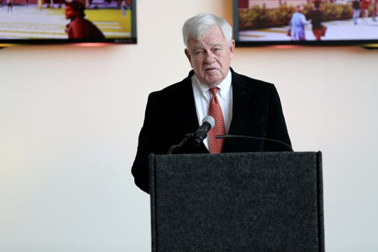 Cincinnati Reds CEO Bob Castellini delivers remarks as business and political leaders announce the name of The Banks music venue, The Andrew J. Brady ICON Music Center, Wednesday, Dec. 11, 2019, at Paul Brown Stadium in Cincinnati.