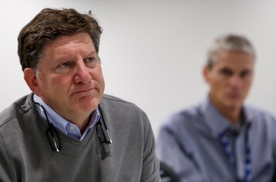 CEO Jeff Lyash looks over to Vice President Scott Turnbow when asked about the danger of radium at plants at TVA Cumberland Fossil Plant in Cumberland City, Tenn., on Tuesday.