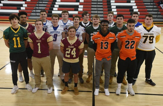 The 2019 Courier News All-Area Offensive Team Front row (L-R): Lucas Kpecky, Montgomery; Tommy Ramsey and Sean Levonaitis, Hillsborough; Kyree Hinton and Cookie Desiderio, Somerville. Middle row (L-R): Jon Seton, Hillsborough; John Czarnecki and Griffin Rooney, Westfield; Brendan Bell and Christian Sweeney, Ridge; Clem Carfaro, Watchung Hills. Back row (L-R): Hank Shapiro and Declan McCauley, Westfield; Alex Fromberg and Michael Pastor, Bridgewater-Raritan; Kenny Yeager, Scotch Plains-Fanwood (not pictured: Joey Scarcia, Voorhees).