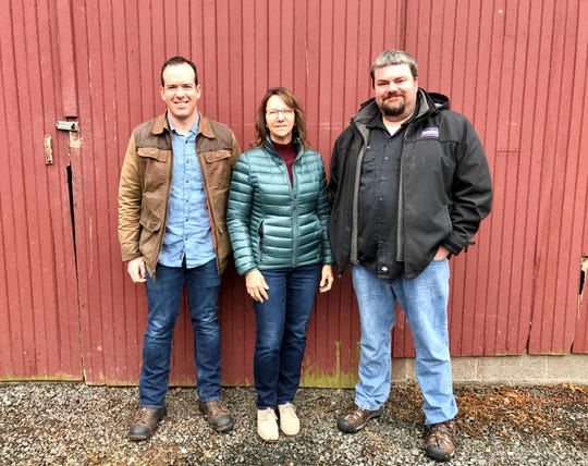 From left: Camden Winkelstein of Bellemara Distillery, Sue Clerico of Carriage Farm and Jeremy 'Flounder' Lees of Flounder Brewing Co.