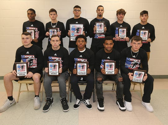 Borden's Ballers (bottom row from left):   Carteret's Justin Leigh, Spotswood's Shae Griffin, J.P. Stevens' Gemal Singleton, Middlesex's Alexander Roque, J.F. Kennedy's Triston Miranda. (Back row, from left): Perth Amboy's Erick Rivera, Monroe's Dylan Gorhan, South River's Steven Rodriguez, Metuchen's Colyn Qualls, Dunellen's Adem Sangiray, East Brunswick's Carlos Tapia.