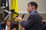 Mark Fetah, senior vice president of development, testifies before the Sayreville Planning Board.