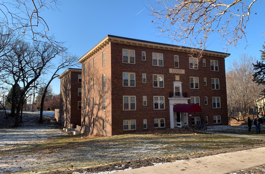 The Eddy Building, 1120 Park Ave., shown after a fire Dec. 11, 2019 in the first-floor laundry room, according to Des Moines fire officials. No one was injured in Wednesday's fire, thanks in part, to sprinkler installed after the last blaze at the century-old building. Four people died in a fire there in 2017.