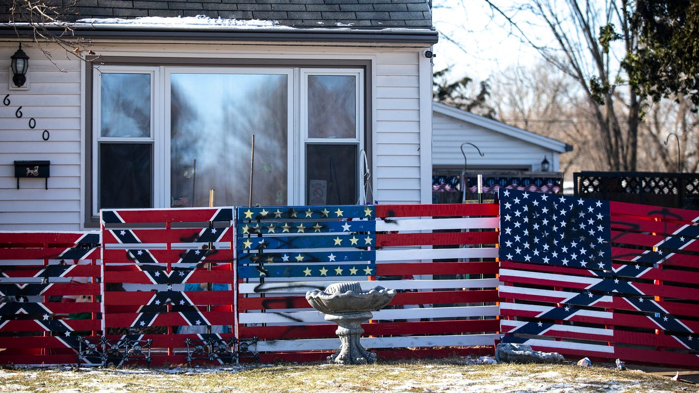 'Nazi scum' graffiti discovered at home of man who displayed swastika, Confederate flags