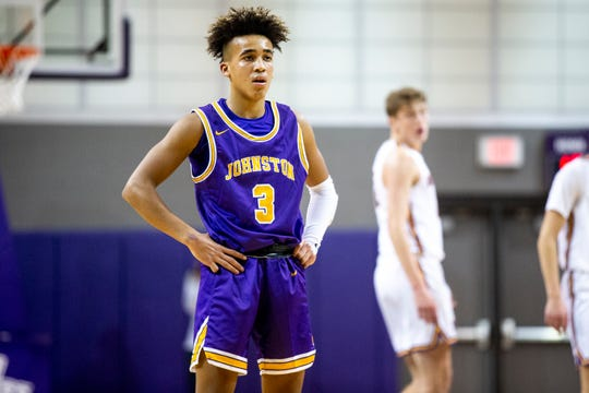 Johnston's Trey Lewis in the Johnston at Waukee basketball game on Wednesday, Dec. 11, 2019, in Waukee.