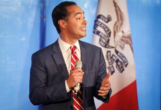 Then-Democratic presidential candidate Julian Castro addresses media and supporters Dec. 10 at Drake University in Des Moines on the role of Iowa and New Hampshire in the Democratic primary.