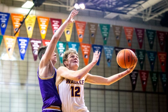 Waukee's Tucker DeVries shoots a layup during the Johnston at Waukee boys' basketball game on Wednesday, Dec. 11, 2019, in Waukee.