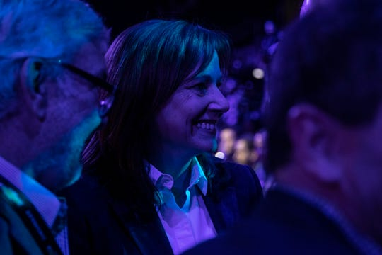 GM CEO Mary Barra speaks with guests before the event to reveal the Chevrolet Suburban and Tahoe at the Little Caesars Arena in downtown Detroit, Tuesday, Dec. 10, 2019.