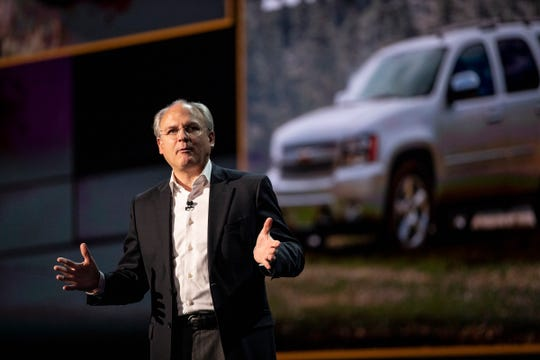 Barry Engle, GM executive vice president and president of GM North America, speaks as General Motors reveals the Chevrolet Suburban and Tahoe at the Little Caesars Arena in 2019 in downtown Detroit.