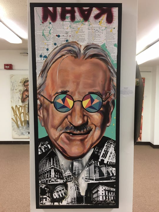 Even architect Albert Kahn gets the Kelly treatment, complete with kaleidoscope glasses.