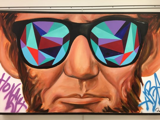 "Desiree Kelly's ""Abe in Shades (Tropical)"" at Detroit Public Library main branch through Mar. 2."