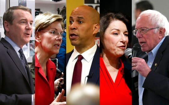 Senators Michael Bennet, from left, Elizabeth Warren, Cory Booker, Amy Klobuchar and Bernie Sanders will have to vote on the U.S.-Mexico-Canada Agreement by next year.
