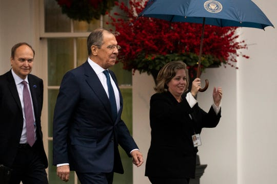 Russian Foreign Minister Sergey Lavrov leaves the White House following a meeting with President Donald Trump, Tuesday, Dec. 10, 2019, in Washington.