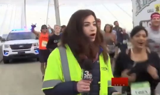 WSAV-TV reporter Alex Bozarjian told police a man ran up from behind and slapped and then grabbed her buttocks as she was doing a live broadcast of the Enmarket Savannah Bridge Run.
