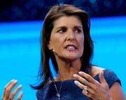 In this March 25, 2019, file photo, former Ambassador to the U.N. Nikki Haley, speaks at the 2019 American Israel Public Affairs Committee.