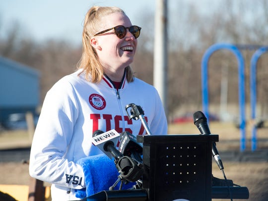 US Olympian and gold medalist Lilly King addresses the crowd during the Deaconess Aquatic Center groundbreaking in Evansville, Ind., Wednesday afternoon, Dec. 11, 2019.