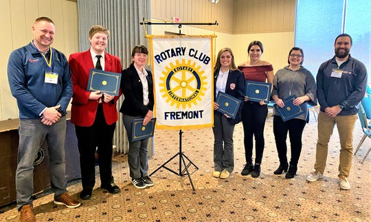 The Fremont Rotary names students of the month for December. Left to right are Rotary president Roger Kuns, and students of the month Christopher Knowles, Hannah Paeth, Olivia Eshleman, McKela Elder, Aliycia Wyant and Rotary President-Elect Cody Bischoff.
