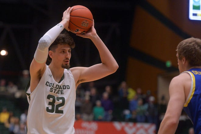 Colorado State basketball player Nico Carvacho looks for a pass during a game against South Dakota State at Moby Arena on Tuesday, Dec. 10, 2019.