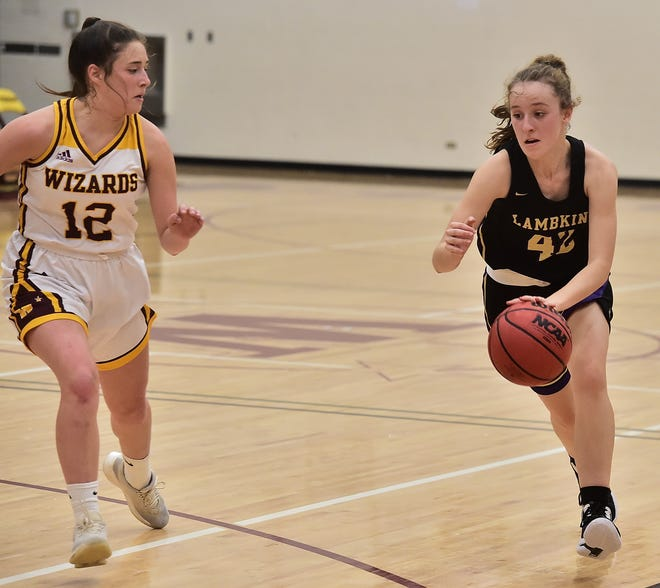 Fort Collins High School girls basketball player Olivia Deines brings the ball up the court while being guarded by Windsor's Val Apodaca in a game Tuesday, Dec. 10, 2019, at Windsor High School.