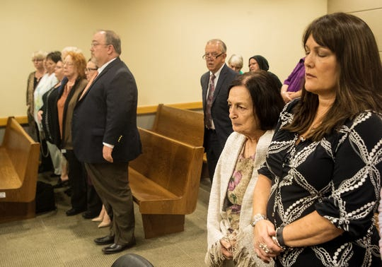 Mary Ann Groves, the mother of Teresa Sievers   and Ann Lisa the sister of Teresa Sievers listen as the jury recommends the death penalty in the trial of Mark Sievers on Tuesday Dec. 11, 2019.