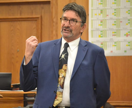 Oconto County District Attorney Edward Burke makes his opening statement in a a trial last month in Oconto County Circuit Court.