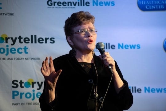 Jan Phillips speaks at the Greenville Storytellers Project event held at the Comedy Zone Tuesday, Dec. 10, 2019.