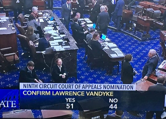The U.S. Senate on Wednesday confirmed Lawrence VanDyke to the 9th Circuit Court of Appeals.