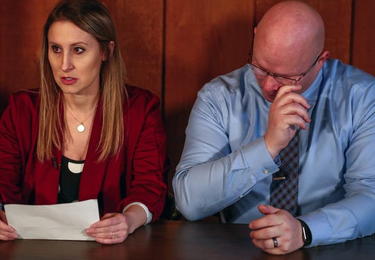 The parents of Chloe Wiegand, Kim and Alan Wiegand, address the media at the Fraternal Order of Police Lodge #36 in South Bend, Ind., on Wednesday, Dec. 11, 2019. The family of Chloe, a 1-year-old girl who died in a fall from the 11th floor of a cruise ship on July 8, is suing Royal Caribbean and calling for for safer windows on luxury ocean liners.