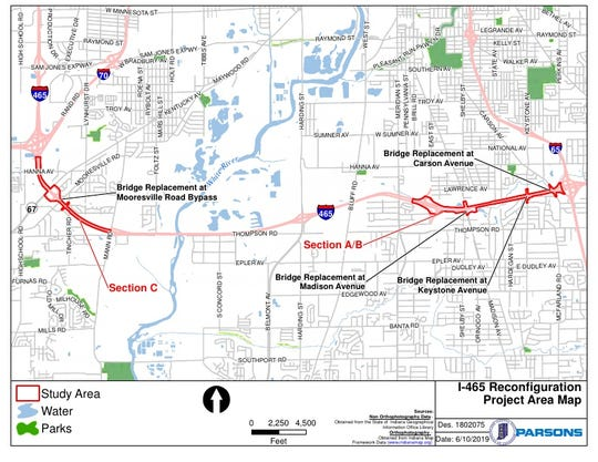 The I-465 Reconfiguration project map shows the areas that will be affected between 2021 and 2024 when the construction is complete.