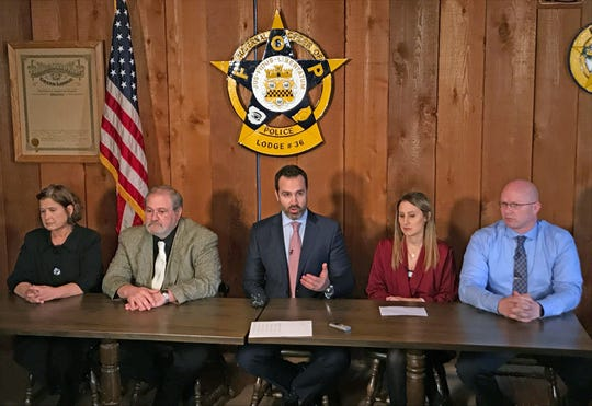 Michael Winkleman, an attorney for the Wiegand family announced the filing of a lawsuit against Royal Caribbean Cruises on Wednesday, Dec. 11, 2019 for what they say is the company's role in the death of 18-month-old Chloe Wiegand's on July 7, 2019.  At the press conference at the Order of Police Lodge 36 in South Bend were Chloe's grandparents Patricia and Salvatore Anello, Winkleman, parents  Kim and Alan Wiegand.