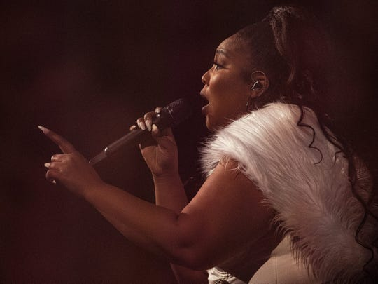 Lizzo performs Tuesday at Bankers Life Fieldhouse.