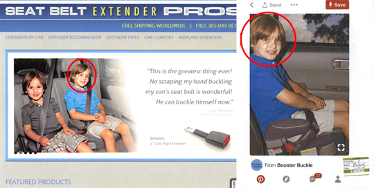 Both Seat Belt Extender Pros and Booster Buckle advertised seat belt extenders for use with booster seats — even though experts say that's unsafe. Ads posted on both company's websites appeared to show the same child.