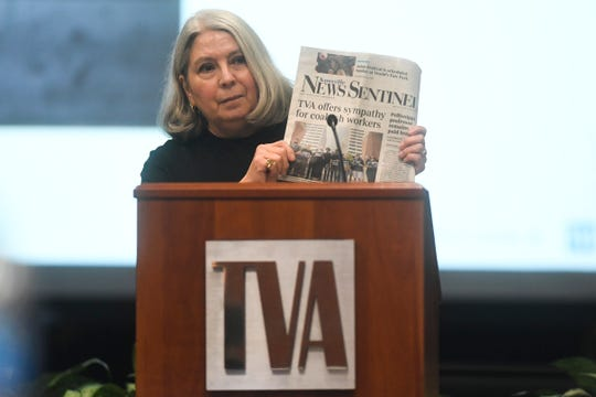 Janie Clark, wife of a Kingston coal ash cleanup worker, speaks to TVA's Regional Energy Resource Council in downtown Knoxville, Wednesday, Dec. 11, 2019.