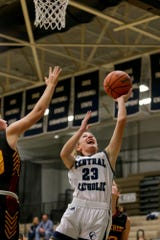 Central Catholic's Karsyn Cherry (23) goes up for a layup during the second quarter of an IHSAA girl's basketball game, Tuesday, Dec. 10, 2019 in Lafayette.