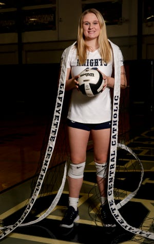 Central Catholic's Jozee Evans is the 2019 Journal & Courier Small School Volleyball Player of the Year.