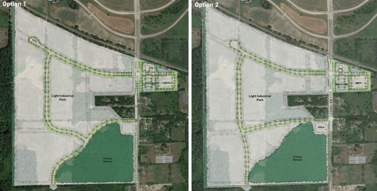 A preliminary conceptual plan for a business park and commercial development on Latson Road in Genoa Township shows options for how nearly 200 acres could be developed. Royal Oak-based Versa Development has proposed the business park to township officials.