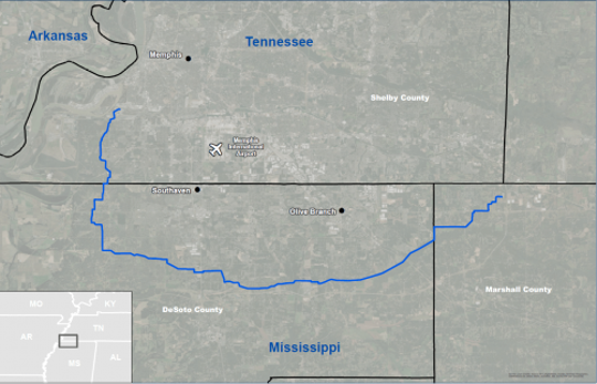 The Byhalia Connection pipeline would run from Memphis to Marshall County, Mississippi.