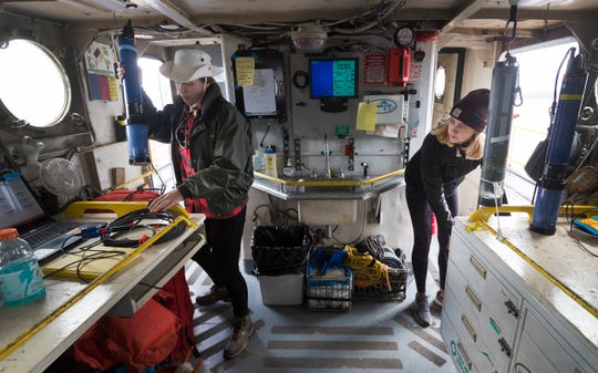 Graduate student Emma Ray, left, and undergraduate research assistant Tosh Sook measure water quality of Green Bay aboard the Neeskay, a UW-Milwaukee research vessel. The student researchers were measuring dissolved oxygen in the bay for a long-term water monitoring project. (Photo: Mark Hoffman / Milwaukee Journal Sentinel)