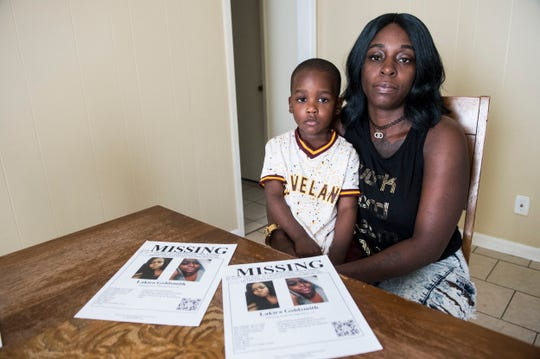"""Marchelle Goldsmith poses with her grandson Armani, 3, in Montgomery, Ala., on Wednesday, Dec. 11, 2019. Marchelle's daughter and Armani's mom Lakira """"Pigg"""" Goldsmith has been missing since Nov. 27, 2018."""