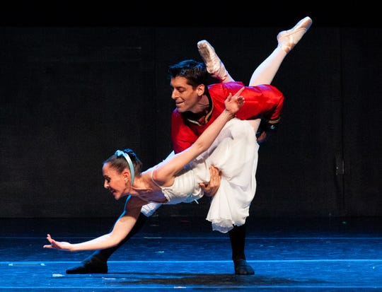 Danny Mitsios and Brandy Carwile dance as Montgomery Ballet presents the Nutcracker on Dec. 1 at the Mt. Vernon Theater in Tallassee.