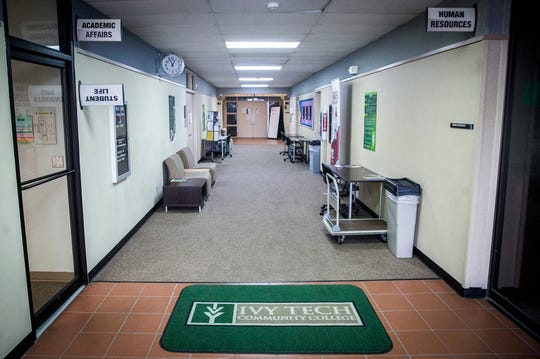 The entrance to the South Instructional Center at Ivy Tech's south facility on Cowan Road.