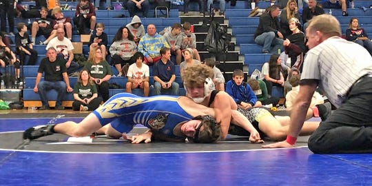 Fairview Sophomore wrestling standout Blake Mitchel with a victory over a Wilson Central opponent on his way to a 4th place finish at the Harpeth Invitational.