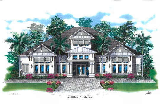 Antilles Clubhouse, The Flamingo Club, anchors the amenity rich site of 212 condominiums in Naples.
