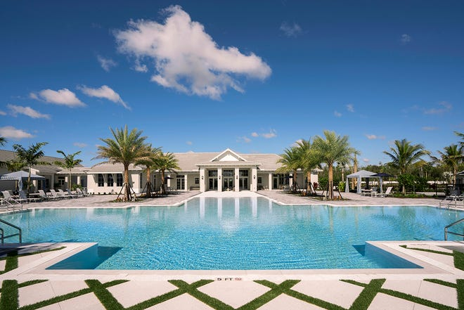 Residents enjoy relaxation and resort-style living at Azure at Hacienda Lakes' private clubhouse and amenity center.