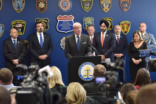 New Jersey Governor Phil Murphy leads a press conference at the Hudson County ProsecutorÕs Office the day after a shoot out with police in Jersey City, N.J. on Wednesday Dec. 11, 2019. One police officer, the two shooters and three civilians were killed.