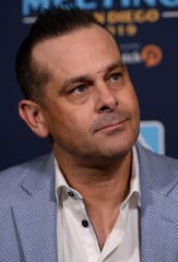 Dec 10, 2019; San Diego, CA, USA; New York Yankees manager Aaron Boone speaks to the media during the MLB Winter Meetings at Manchester Grand Hyatt.